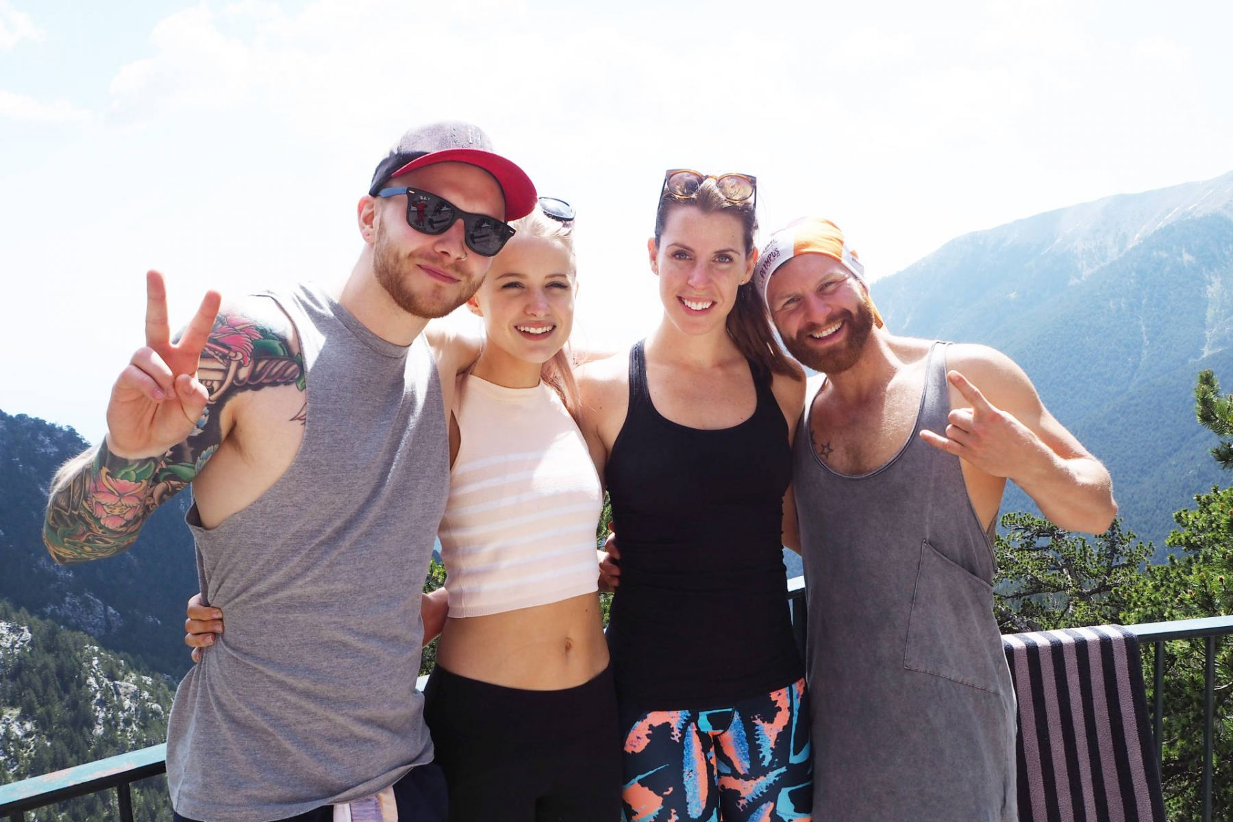 Carly Rowena, Leon Bustin, Alex Harrison and Victoria Magrath, at the top of Mount Olympus