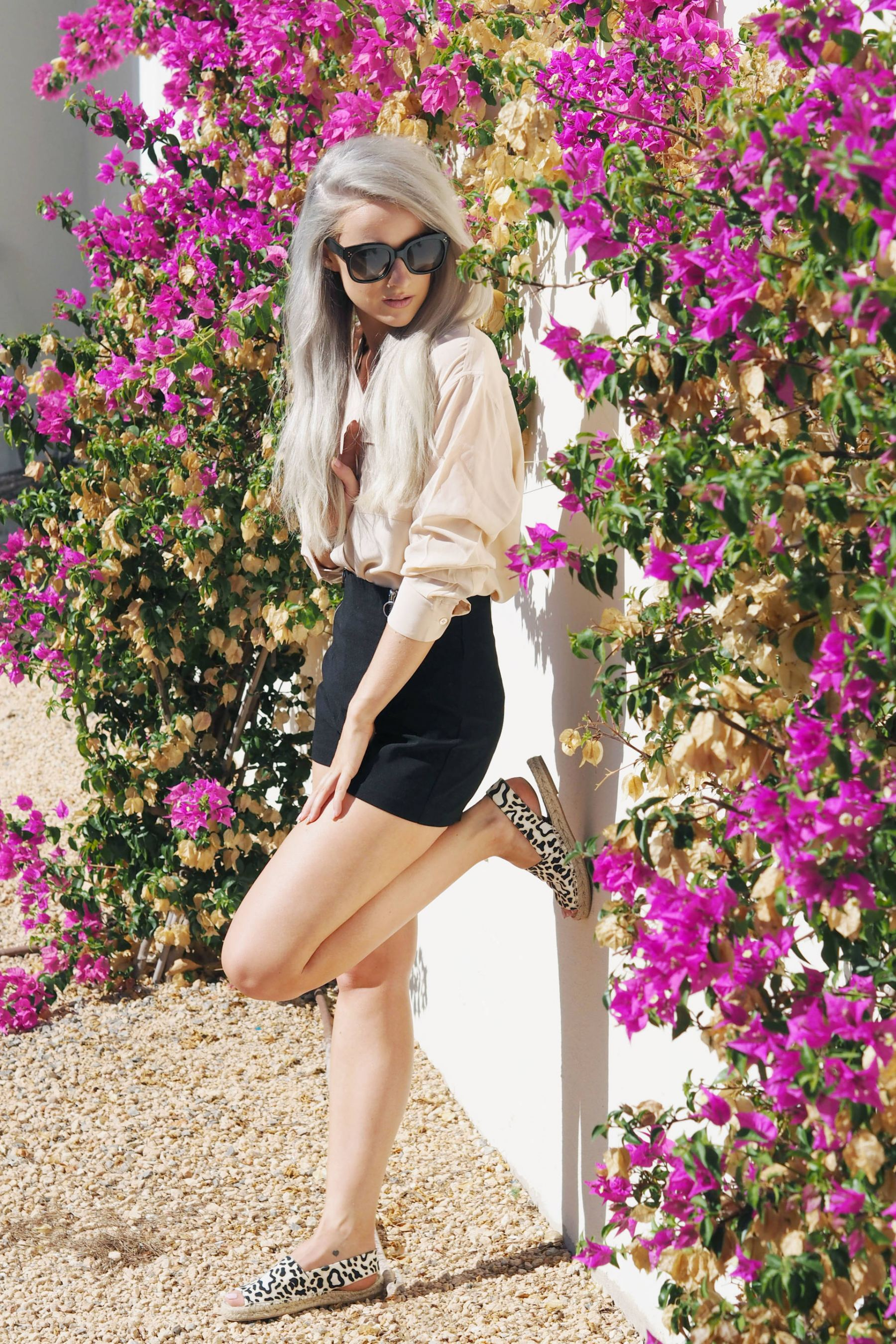 equipment blouse, stella espadrilles and asos shorts