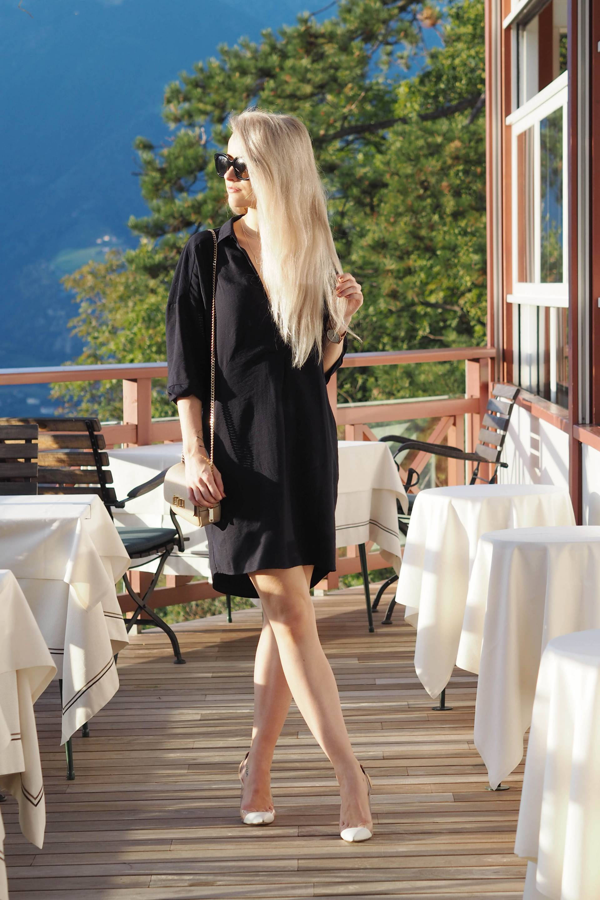 whistles sack dress with gianvito rossi courts and henri bendel clutch and celine new audrey sunglasses