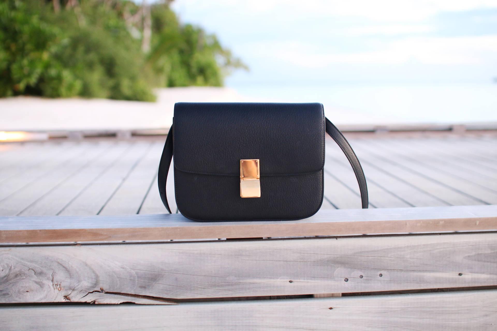 celine box bag texture black
