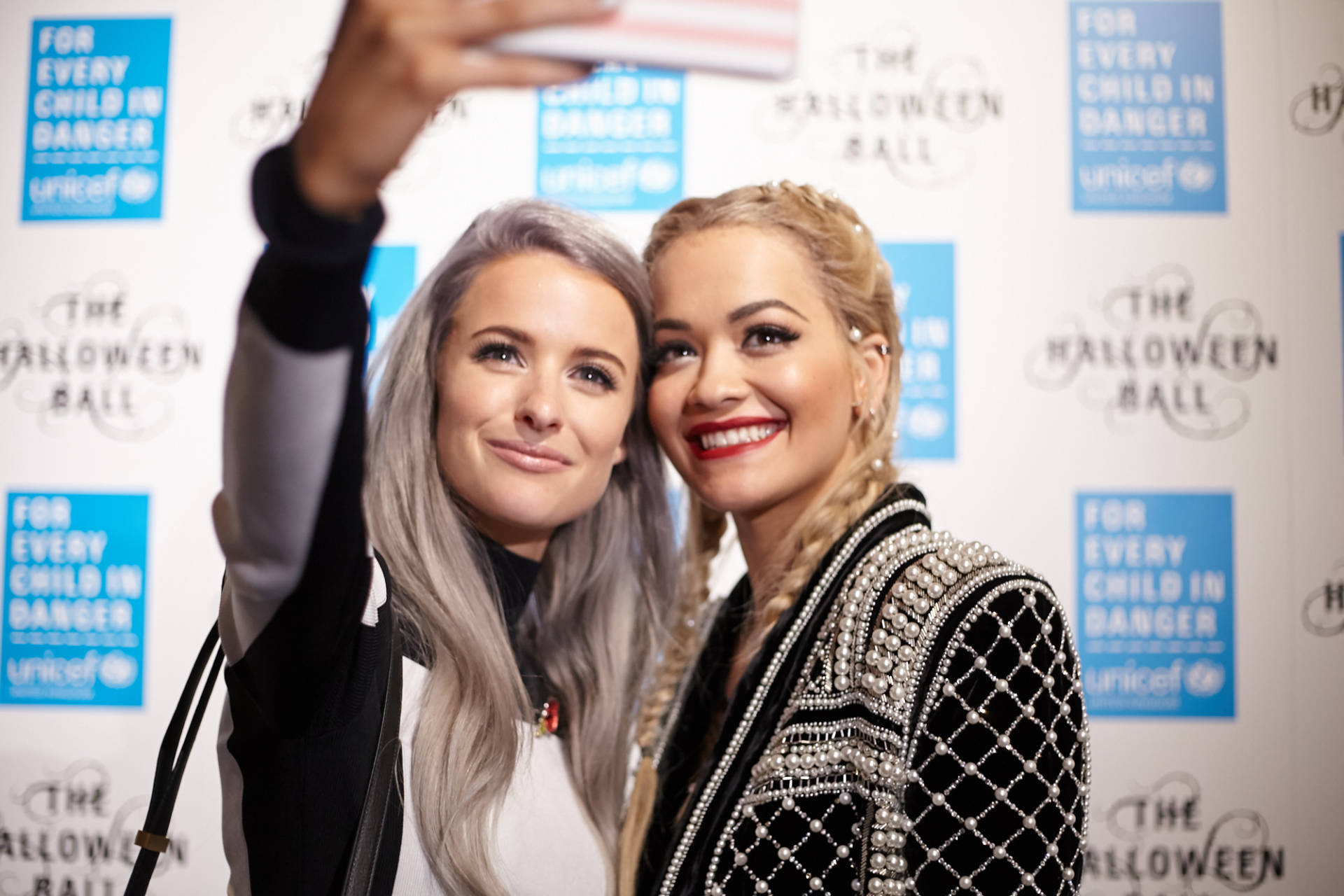 rita ora and inthefrow at unicef halloween ball