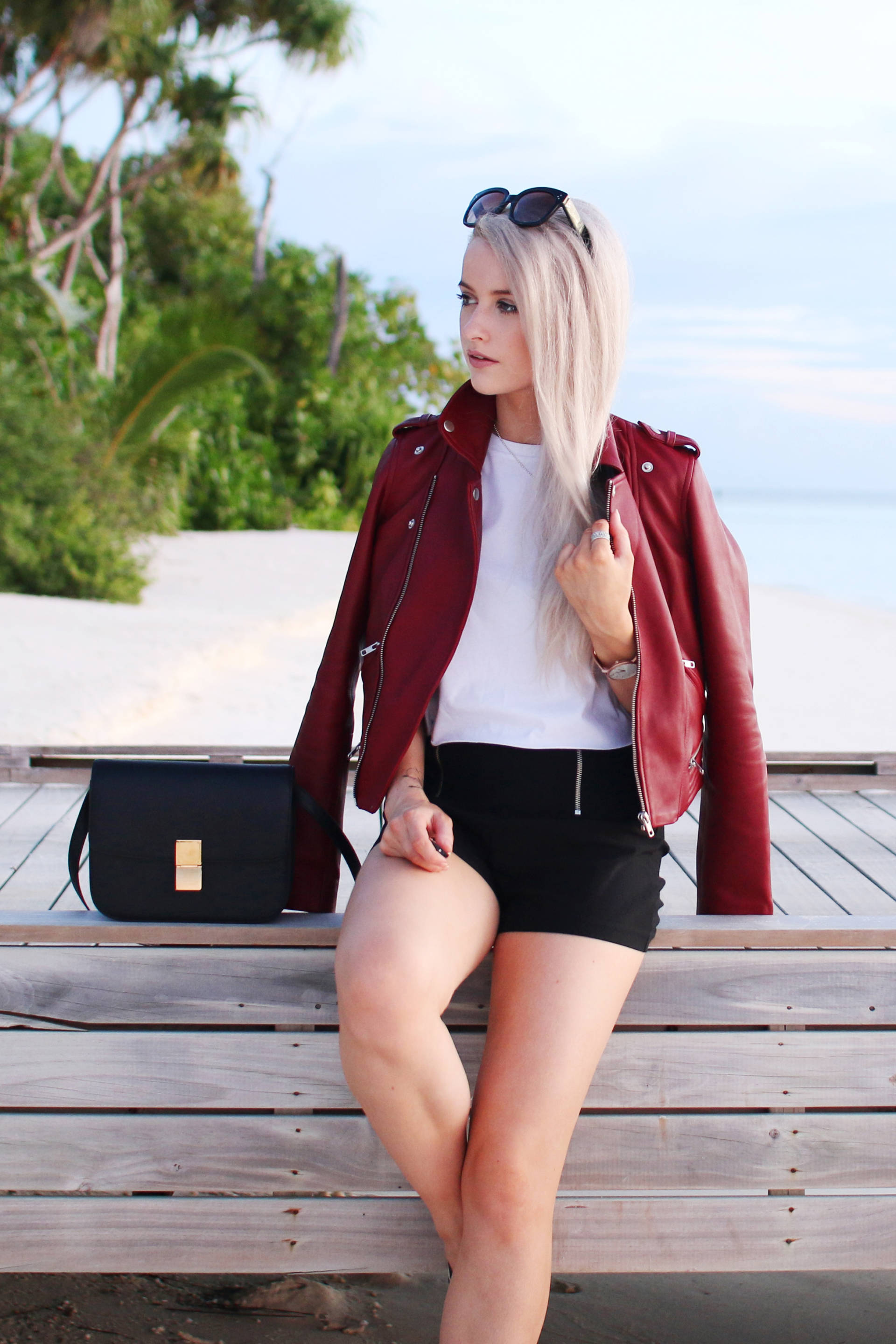 maje red leather jacket in the maldives