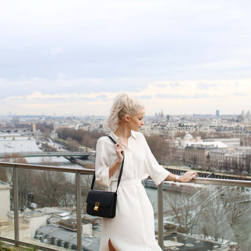 joseph bryce dress, celine box bag and H&m balmain