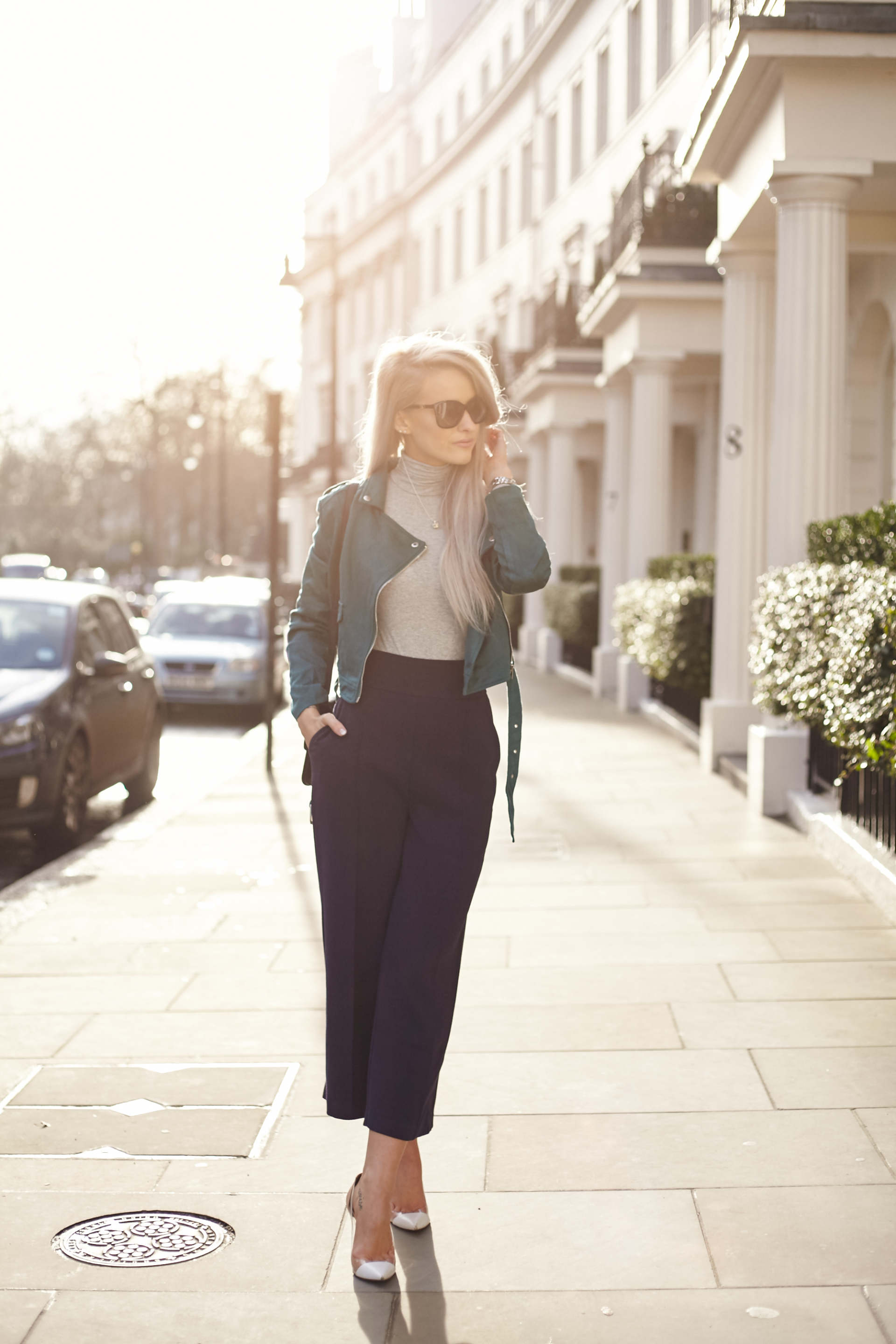 inthefrow celine box bag, missguided teal suede jacket
