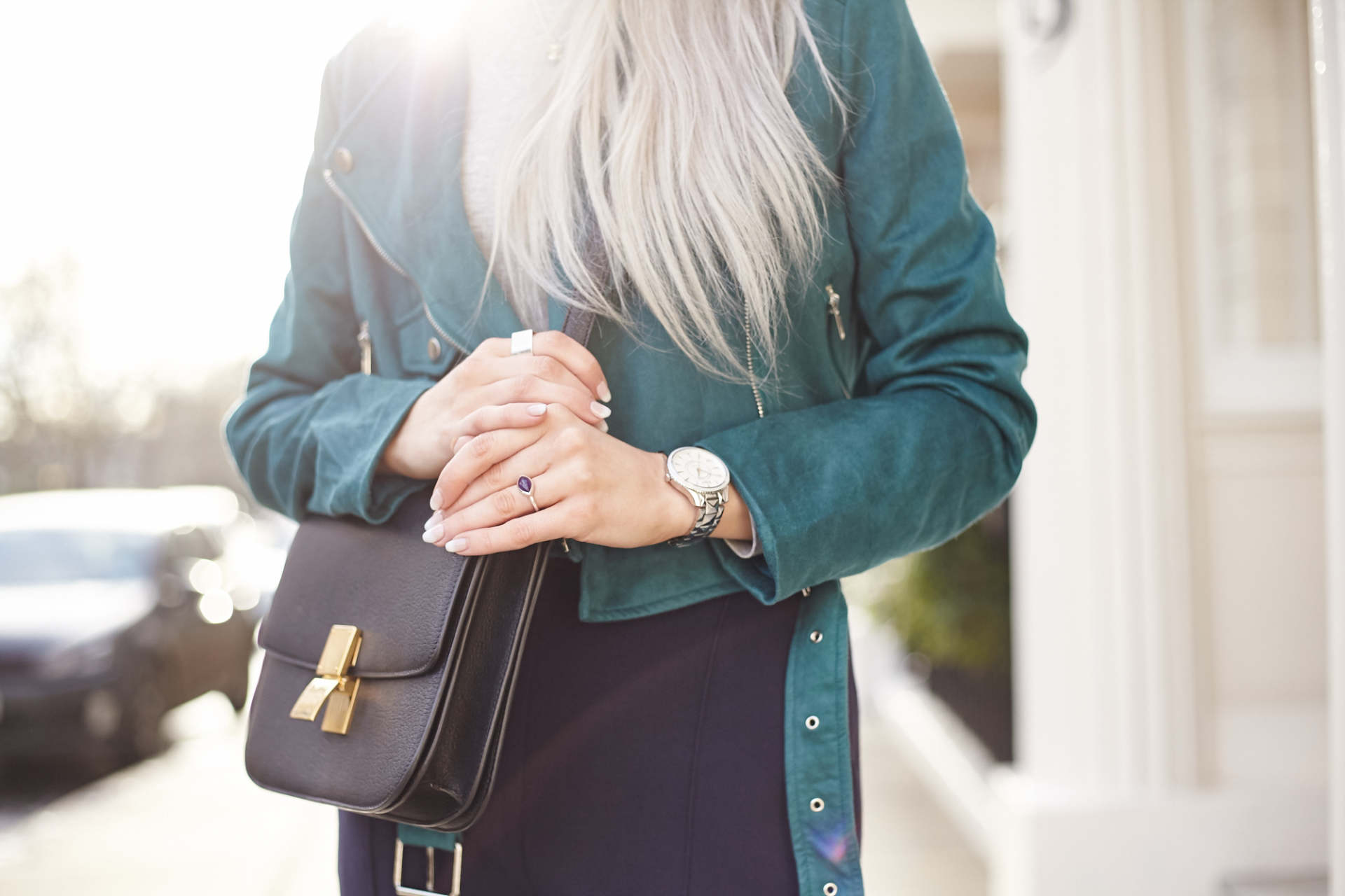 inthefrow celine box bag, missguided teal suede jacket, dior watch