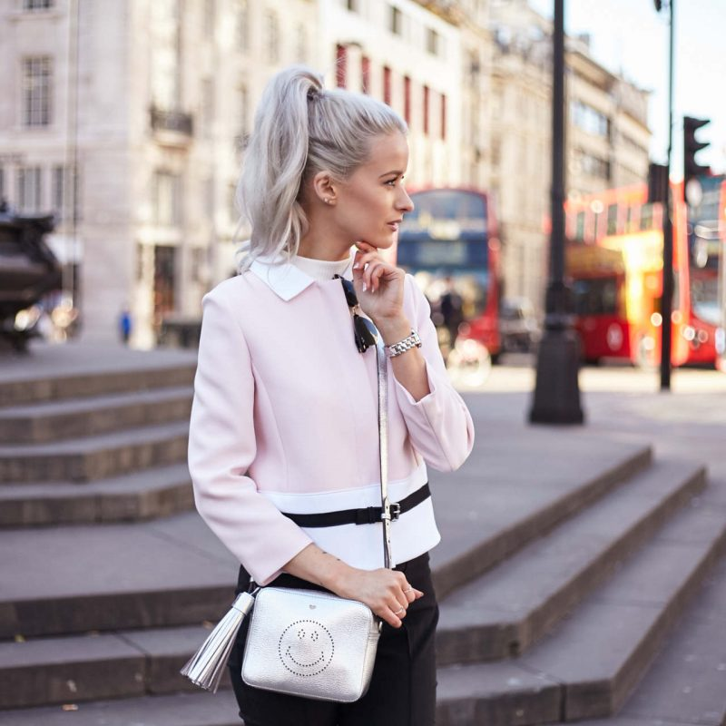 london fashion week outfit inthefrow longchamp pink jacket