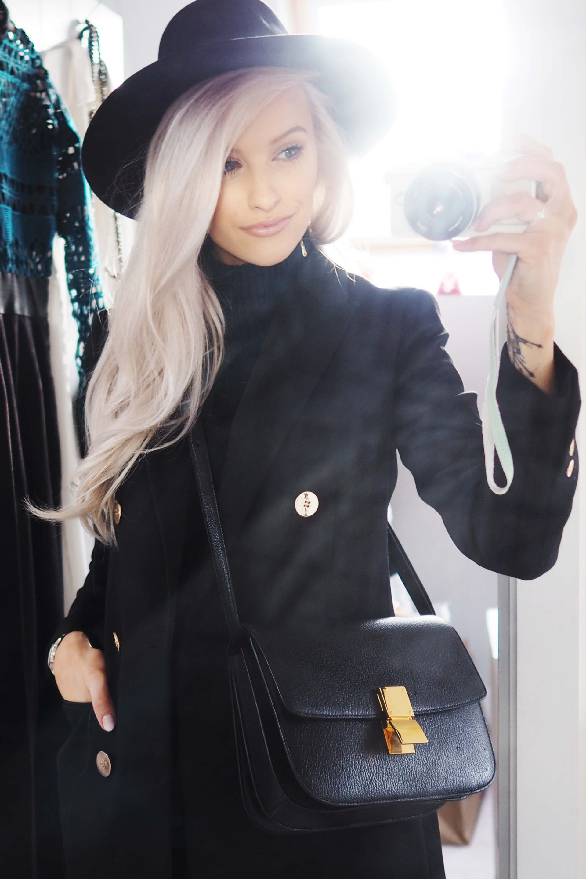 inthefrow london fashion week aw16 day 2 in maison michel trilby, celine box bag and reiss blazer
