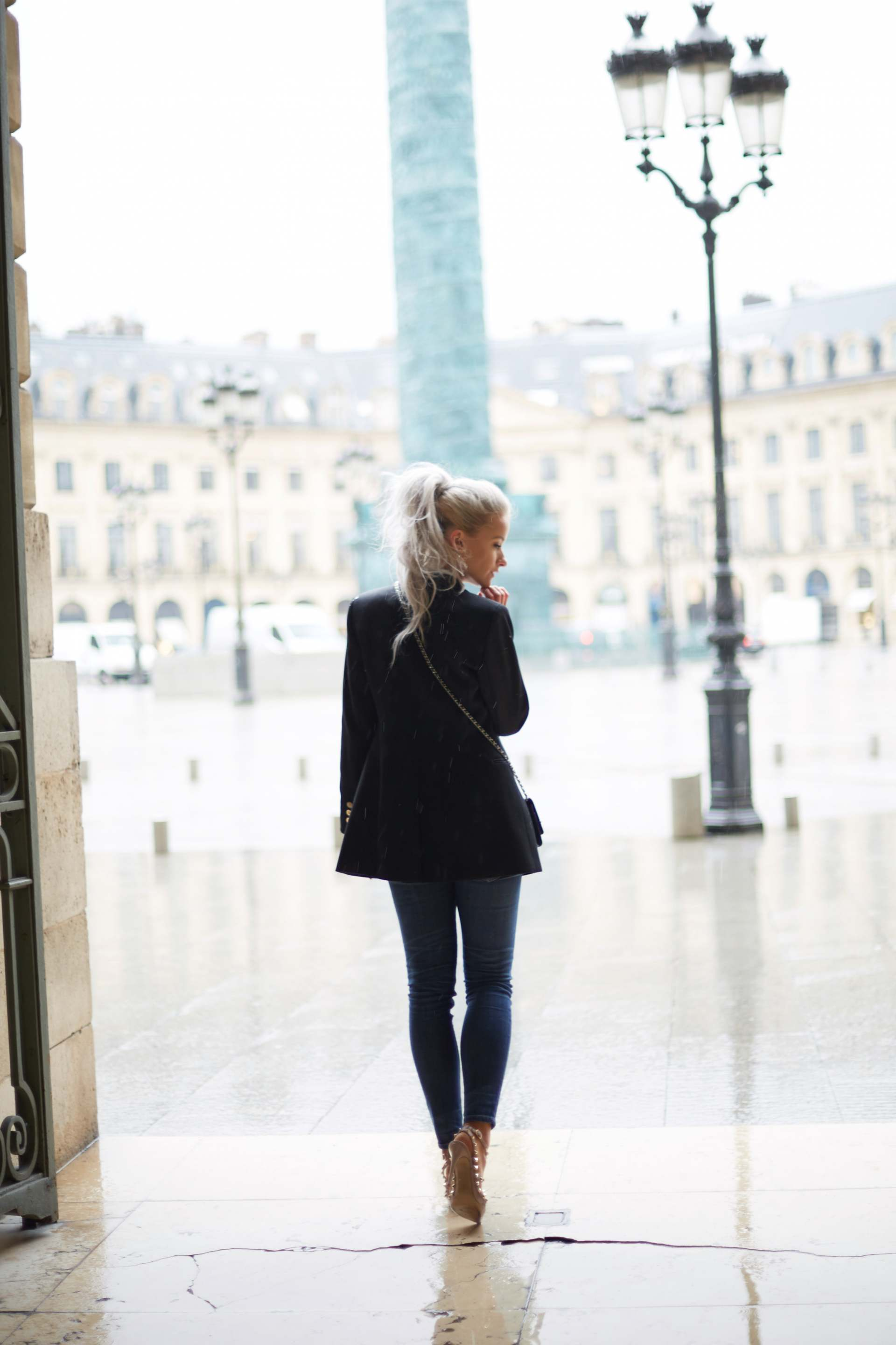 inthefrow white hair curly high ponytail eiss lavinia blazer and valentino rockstud, chanel woc