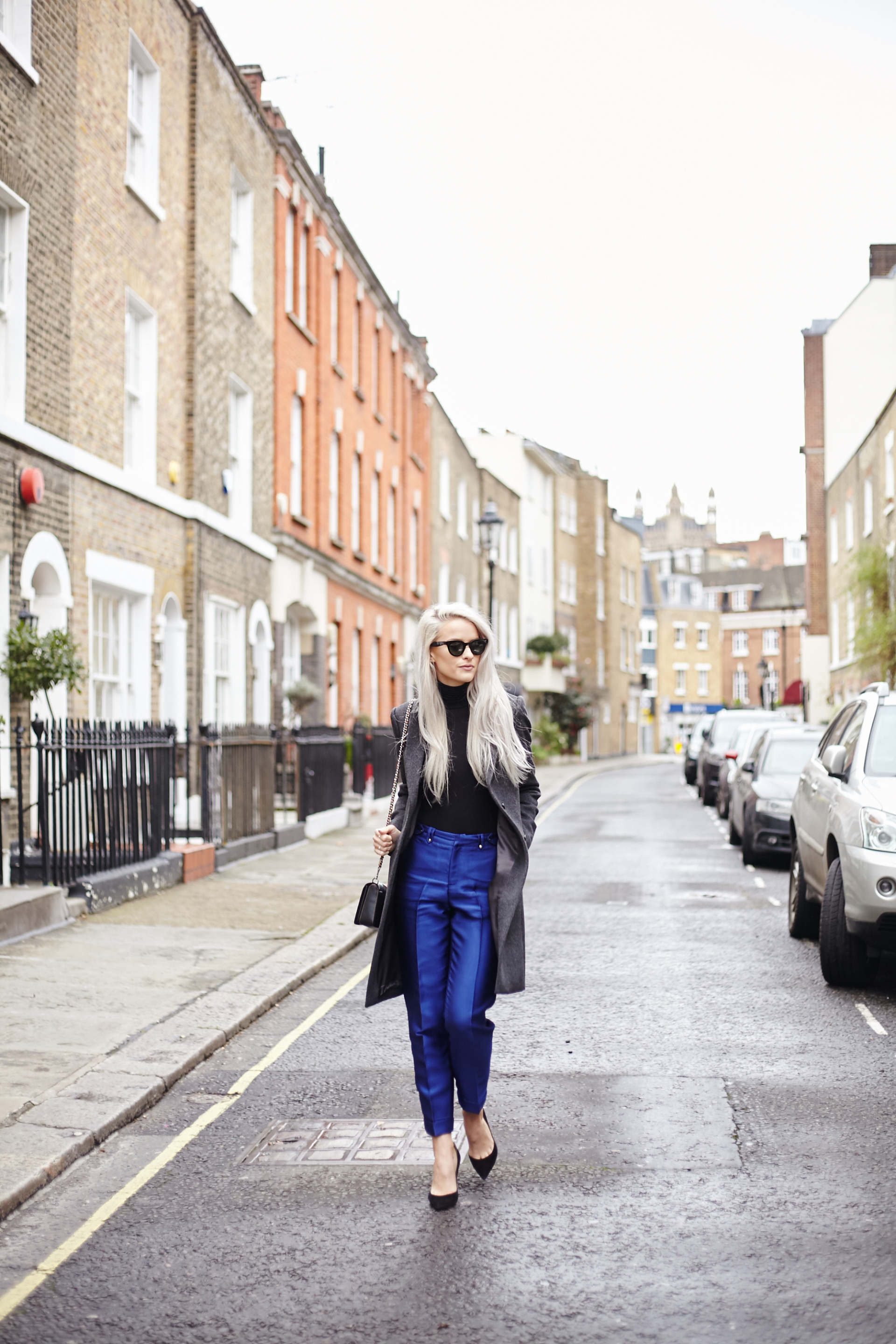 inthefrow threefloor blue trousers, gianvito rossi black heels, coach 1941 patchwork bag, joseph wool grey coat