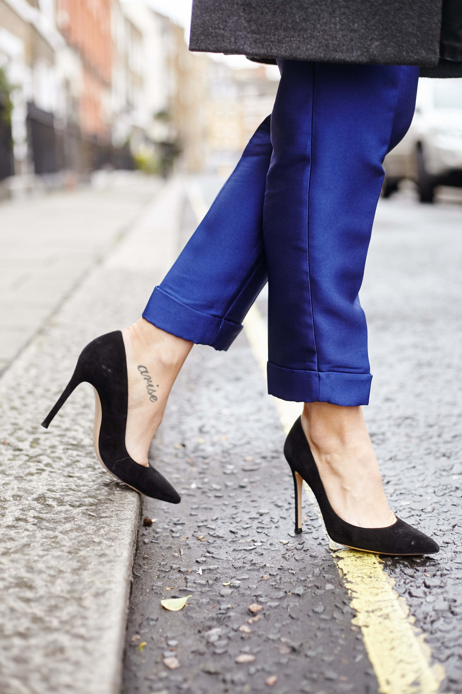 inthefrow threefloor blue trousers, gianvito rossi black heels,