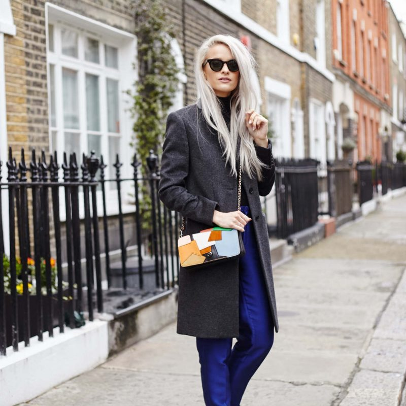 inthefrow threefloor blue trousers, gianvito rossi black heels, coach 1941 patchwork bag, joseph wool grey coat