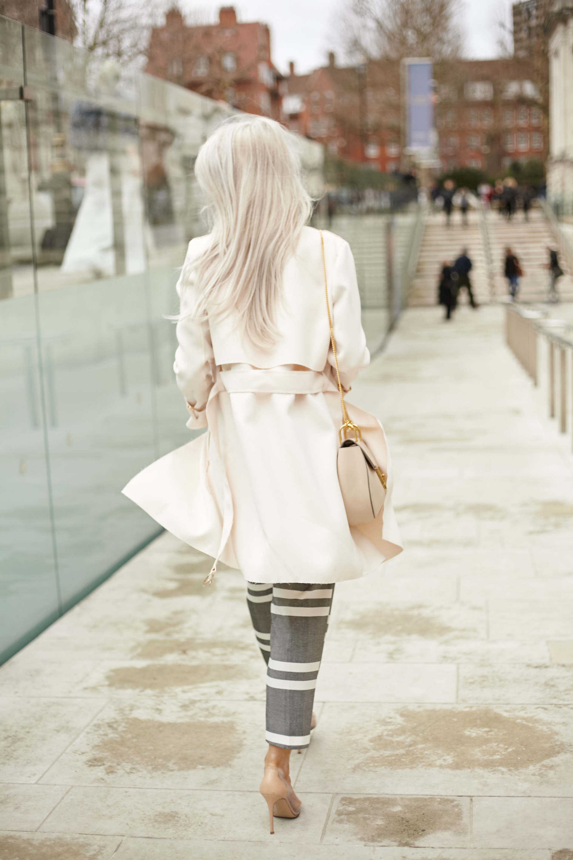 inthefrow topshop pink jacket, topshop grey striped trousers and chloe faye in arctic white gianvito rossis calabria in white and nude