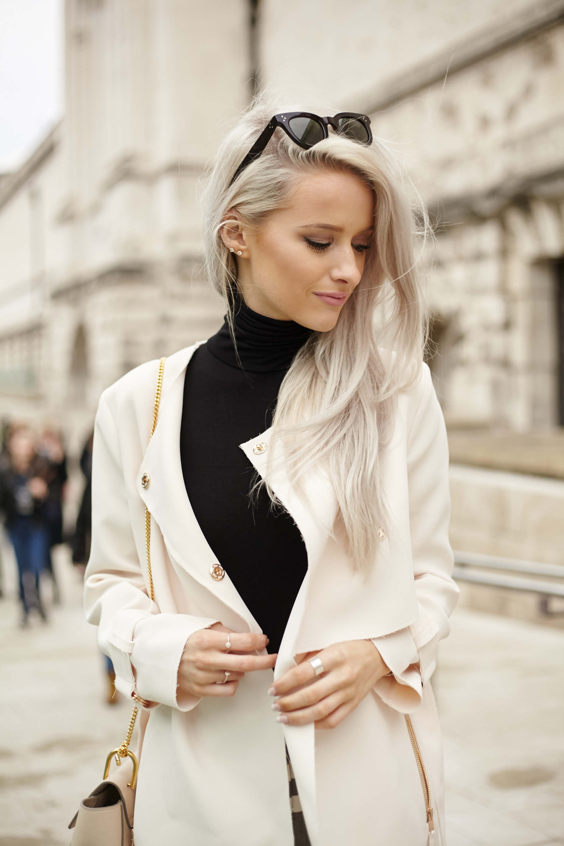 inthefrow topshop pink jacket, topshop grey striped trousers and chloe faye in arctic white
