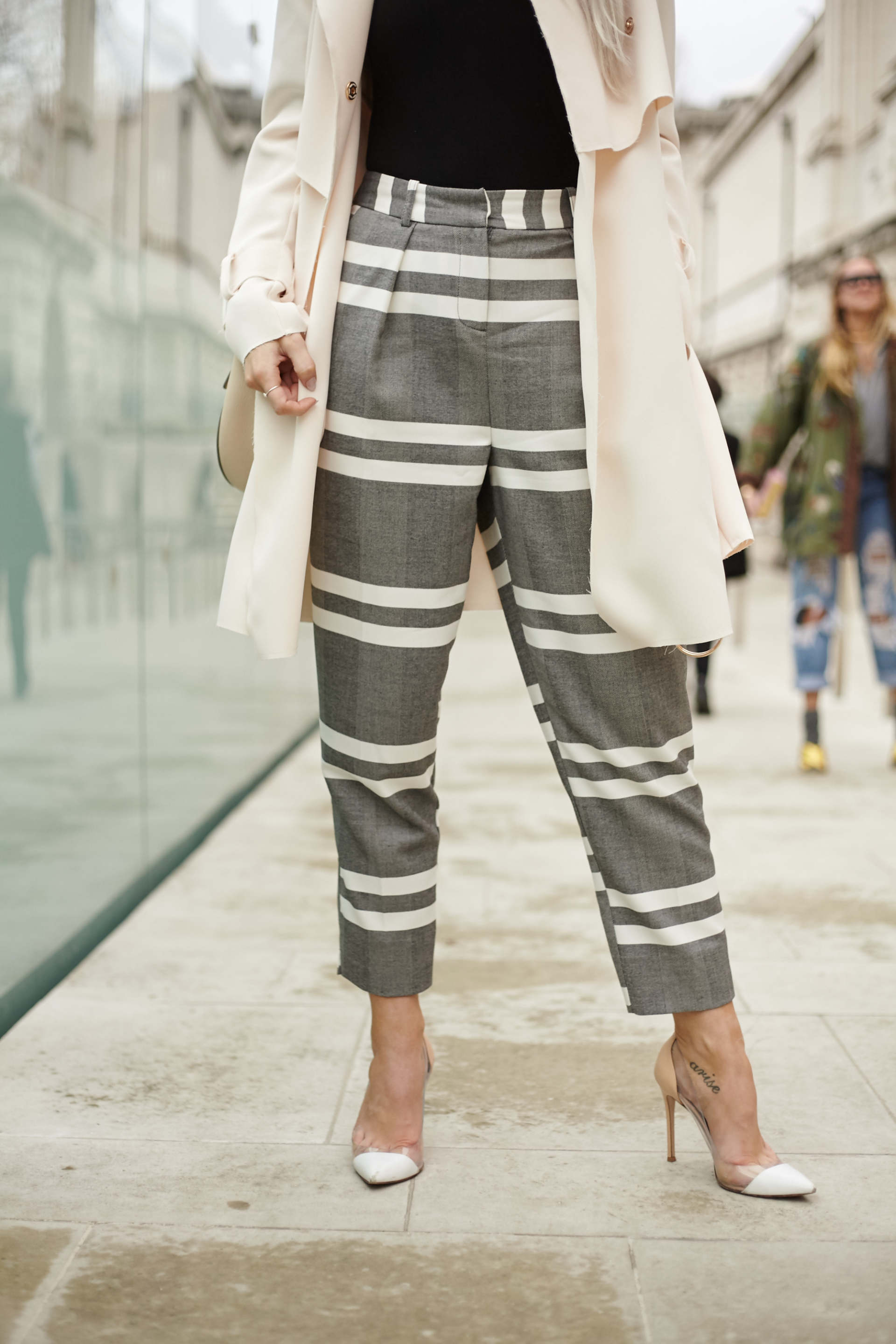 gianvito rossi calalbria in white and nude inthefrow, topshop grey striped trousers