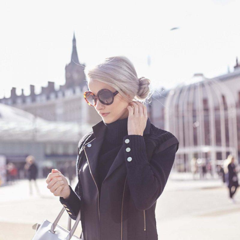 tan culotte trousers, gianvito rossi portofino in nude, white and black, three floor black jacket and amanda wakeley tote