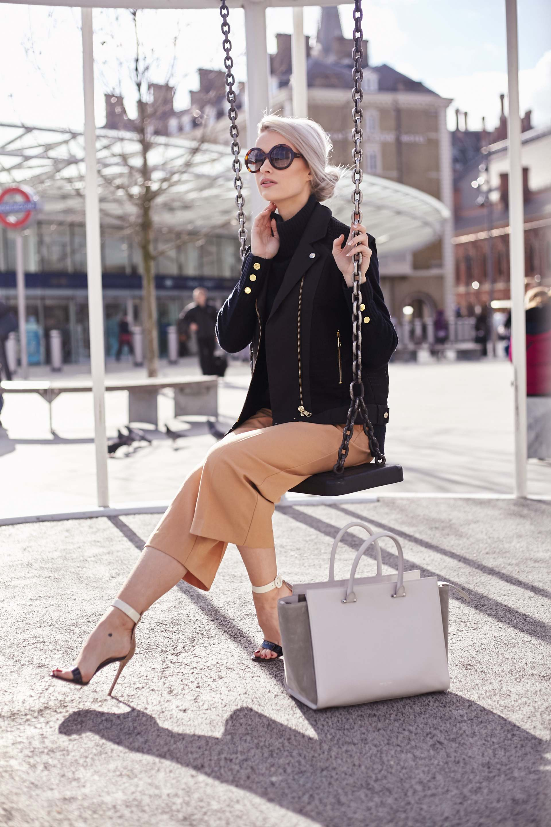tan culotte trousers, gianvito rossi portofino in nude, white and black, three floor black jacket and amanda wakeley tote
