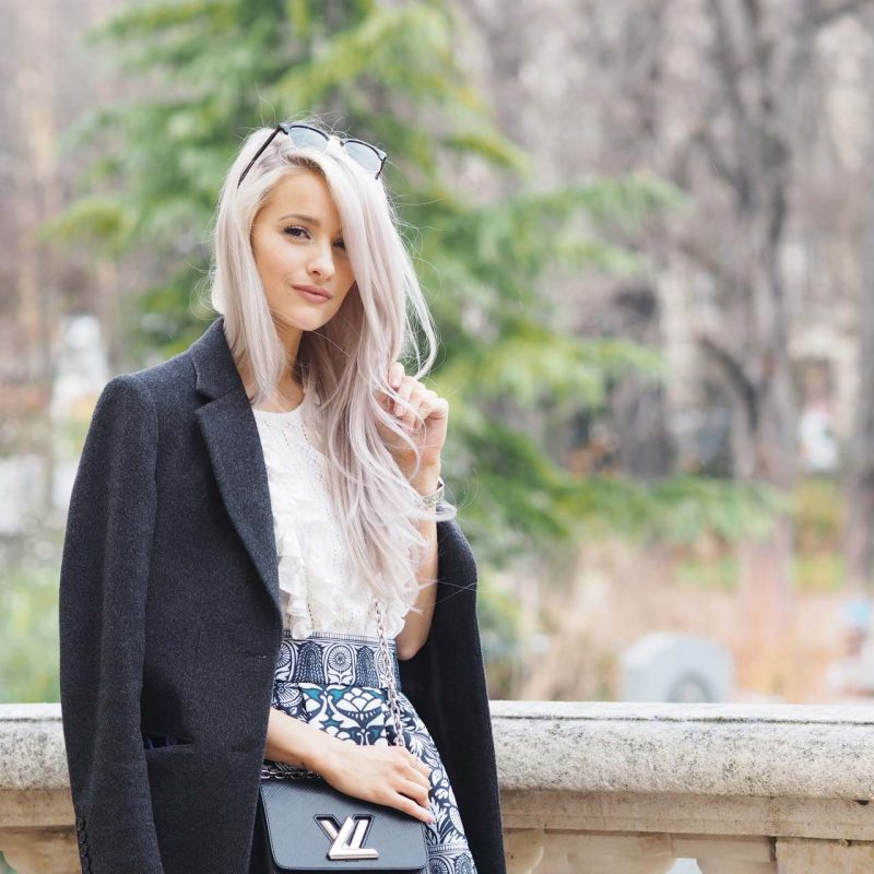 inthefrow gianvito rossi caged heels in turquoise, louis vuitton twist bag in black, maje skirt, joseph grey jacket