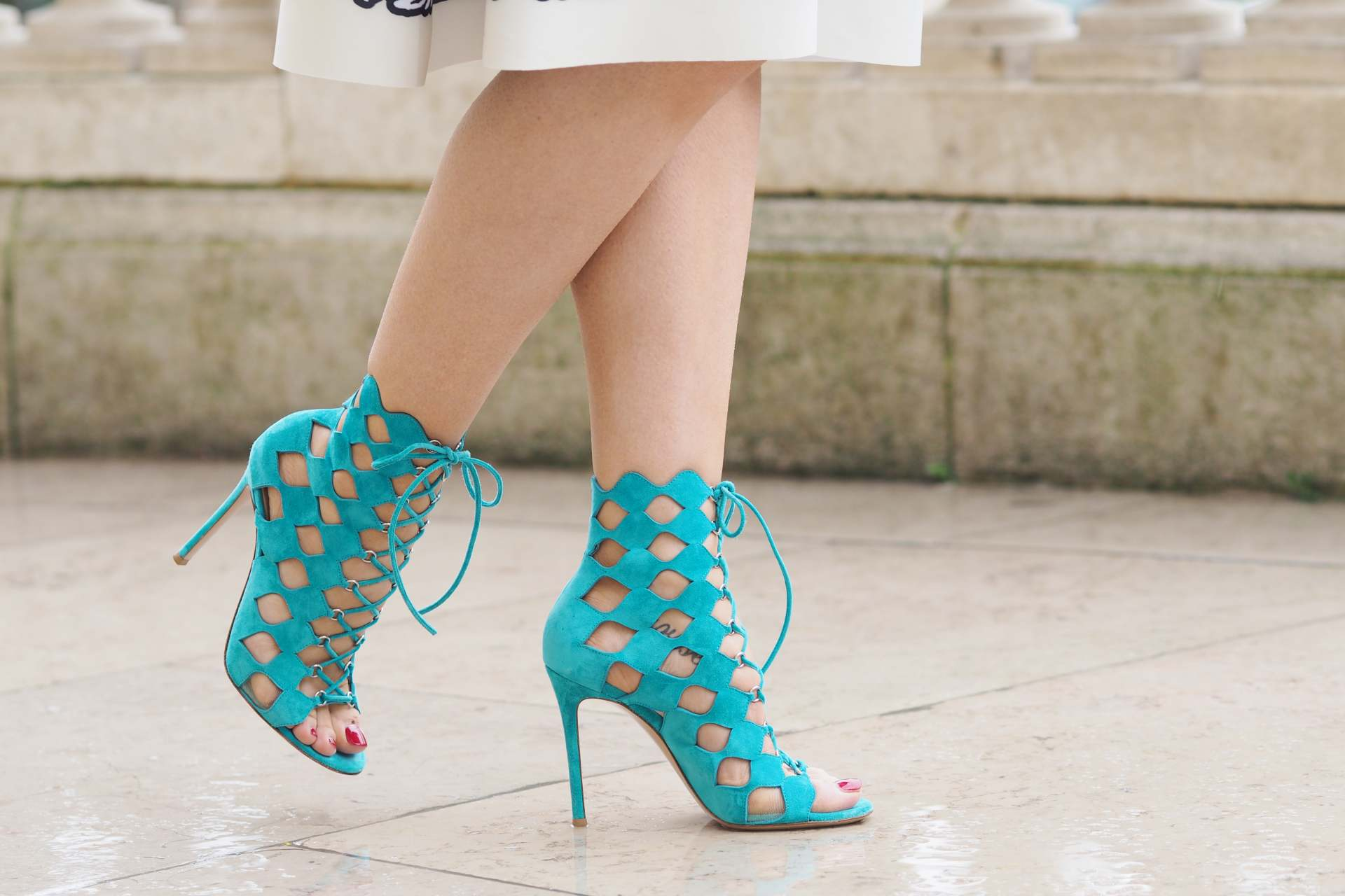 inthefrow gianvito rossi caged heels in turquoise, louis vuitton twist bag in black, maje skirt