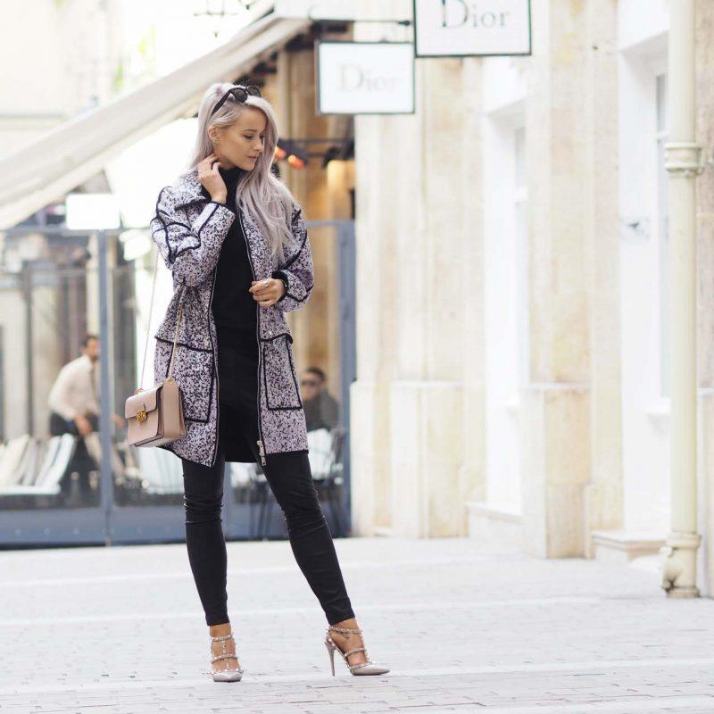 inthefrow paris fashion week kenzo lilac leopard print jacket and valentino rockstuds in powder