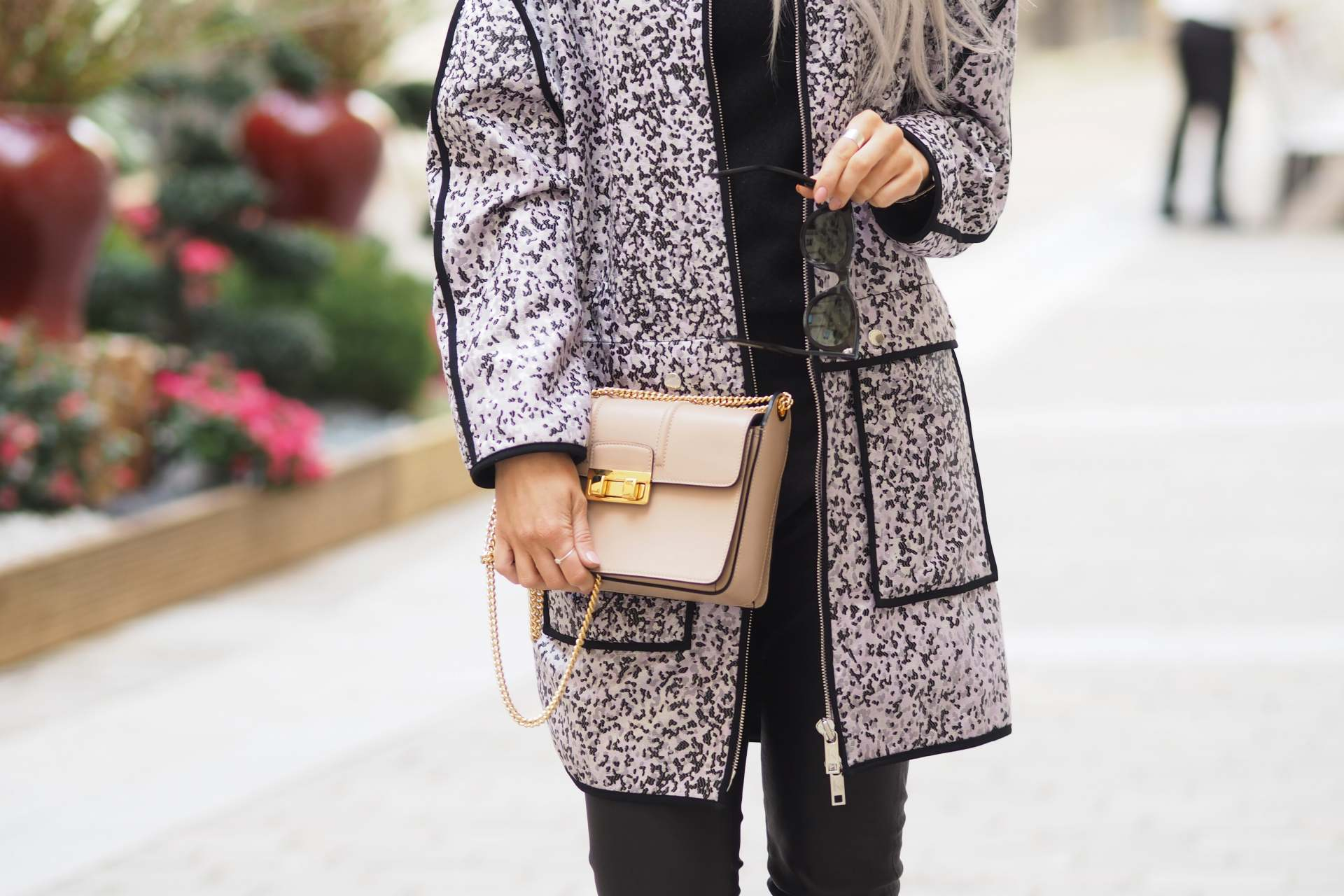inthefrow paris fashion week kenzo lilac leopard print jacket and lanvin bag in nude