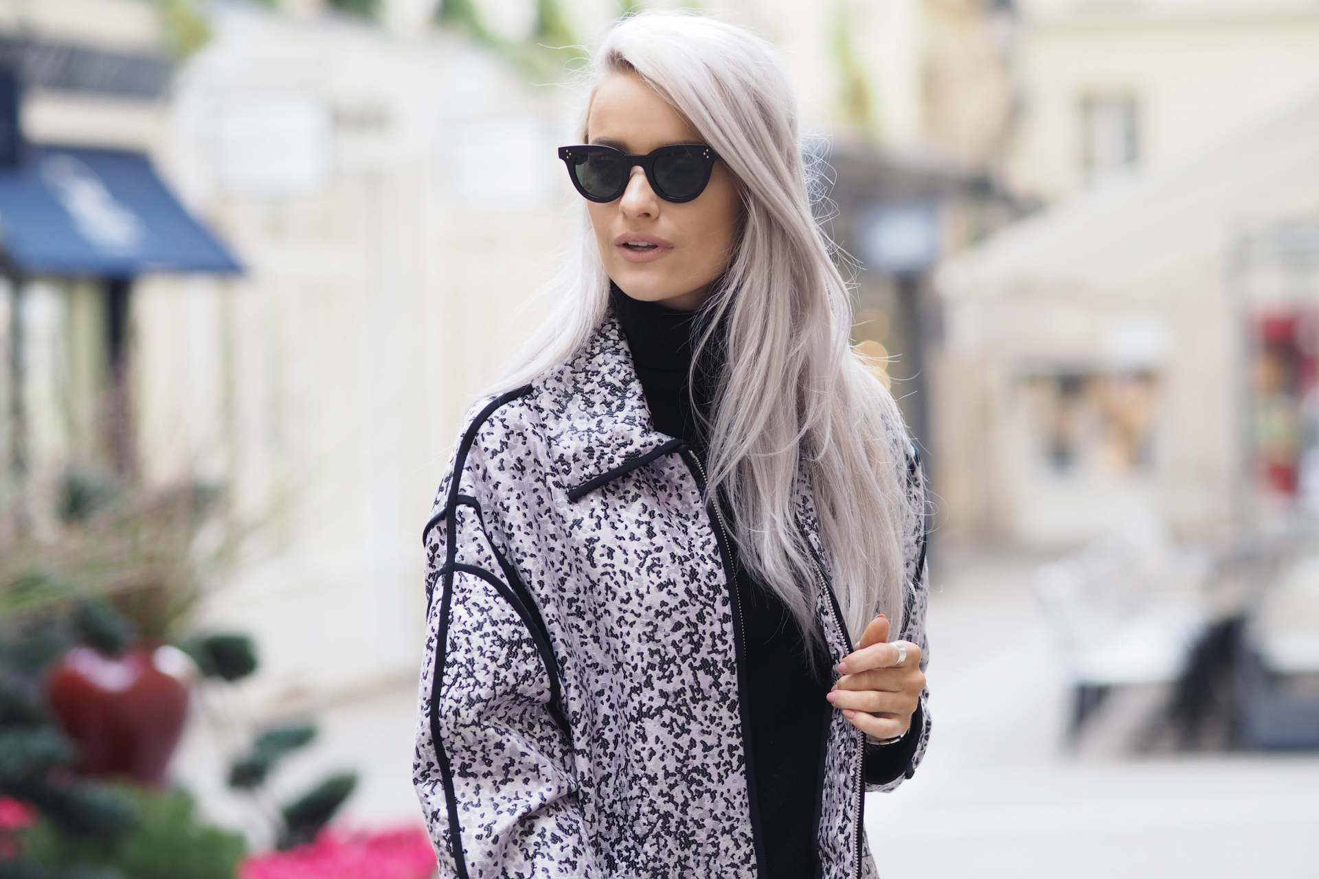 inthefrow paris fashion week kenzo lilac leopard print jacket and valentino rockstuds in powder
