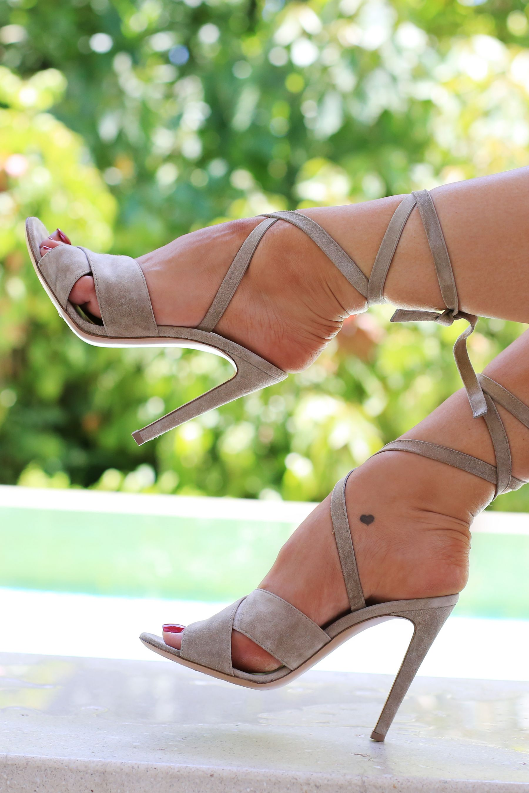 My holiday essentials / inthefrow / gianvito rossi beige lace up heels