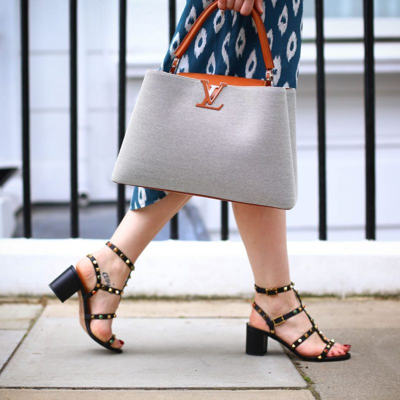 Louis Vuitton capucine tote and valentino sandals