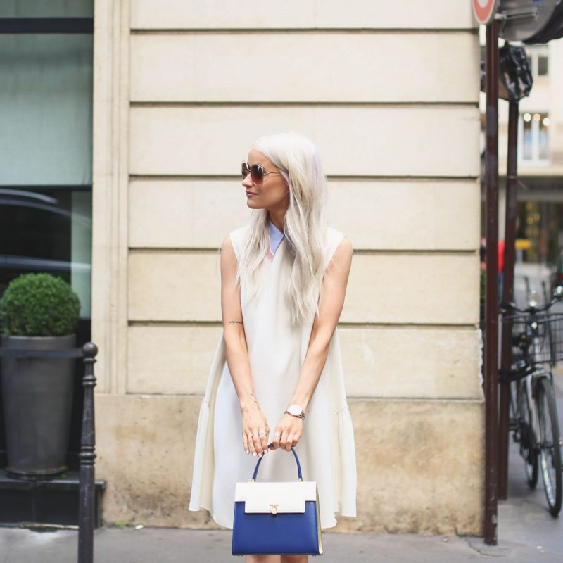 Inthefrow in Roksanda dress and Launer Bag, Paris Fashion Week