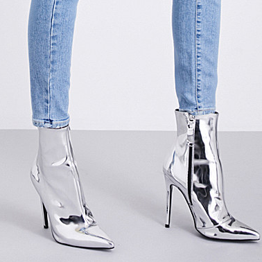 Bright Silver Heeled Boots