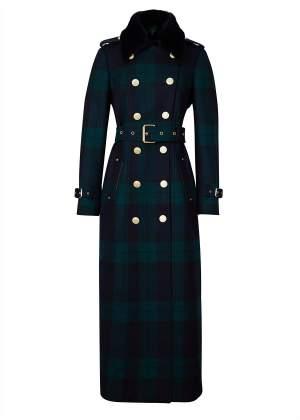 Green Navy Plaid Maxi Coat