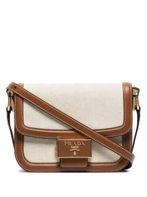 Linen & Leather Shoulder Bag