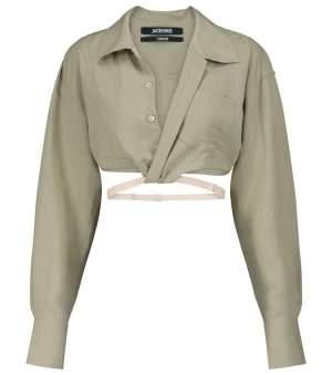 Linen Blend Belt Shirt