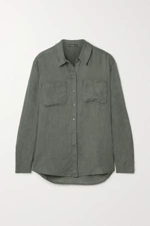 Relaxed Khaki Linen Shirt
