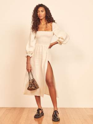 Smocked Bodice Linen Dress