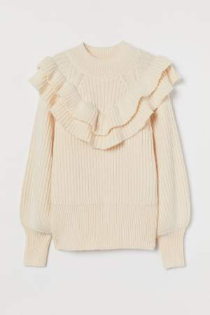 Flounced Rib Knit Sweater