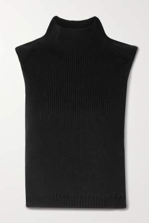 Cutout Wool Turtleneck Vest