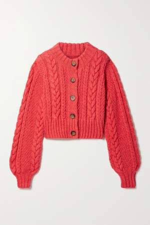 Cable Knit Cardigan Crimson