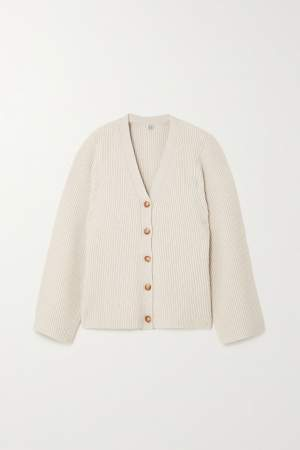 Ribbed Wool Blend Cardigan