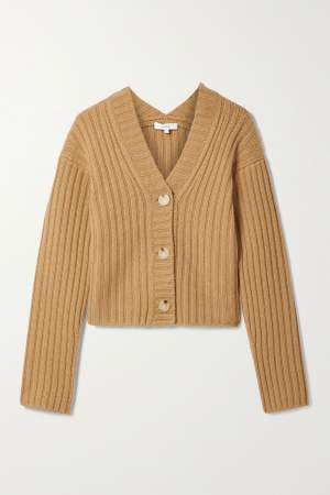 Cropped Cashmere Blend Cardigan