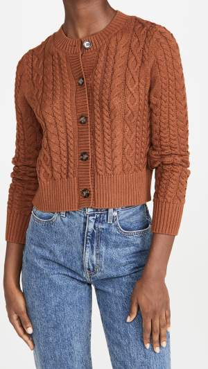 Fitted Cable Knit Cardigan