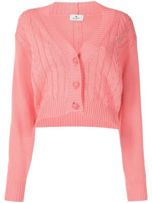 Cable Knit Cardigan Pink