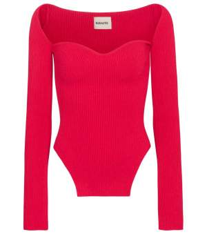 Ribbed Knit Top Red