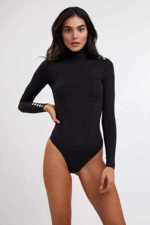 Gold Button Detail Bodysuit Black