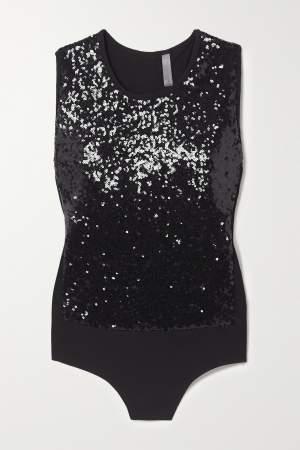 Sequin Embellished Bodysuit Black