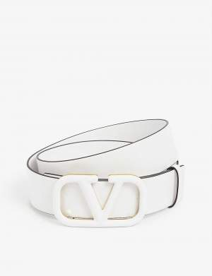 V Logo Belt White