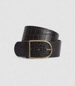 Croc Patterned Belt Chocolate