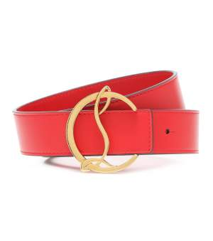 Logo Leather Belt Red