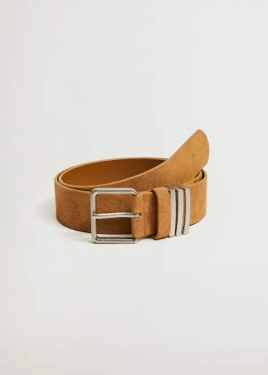 Suede Buckle Belt Tan