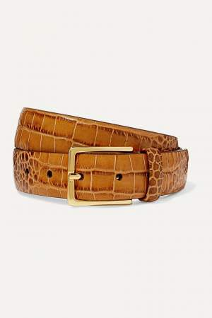 Croc Effect Leather Belt