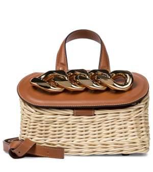 Chain Lid Wicker Bag